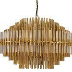 Lampa z rurek Tristan to idealne oświetlenie sufitowe dużego salonu, holu, restauracji, hotelu. Złota lampa sufitowa z rurkami na zamówienie.