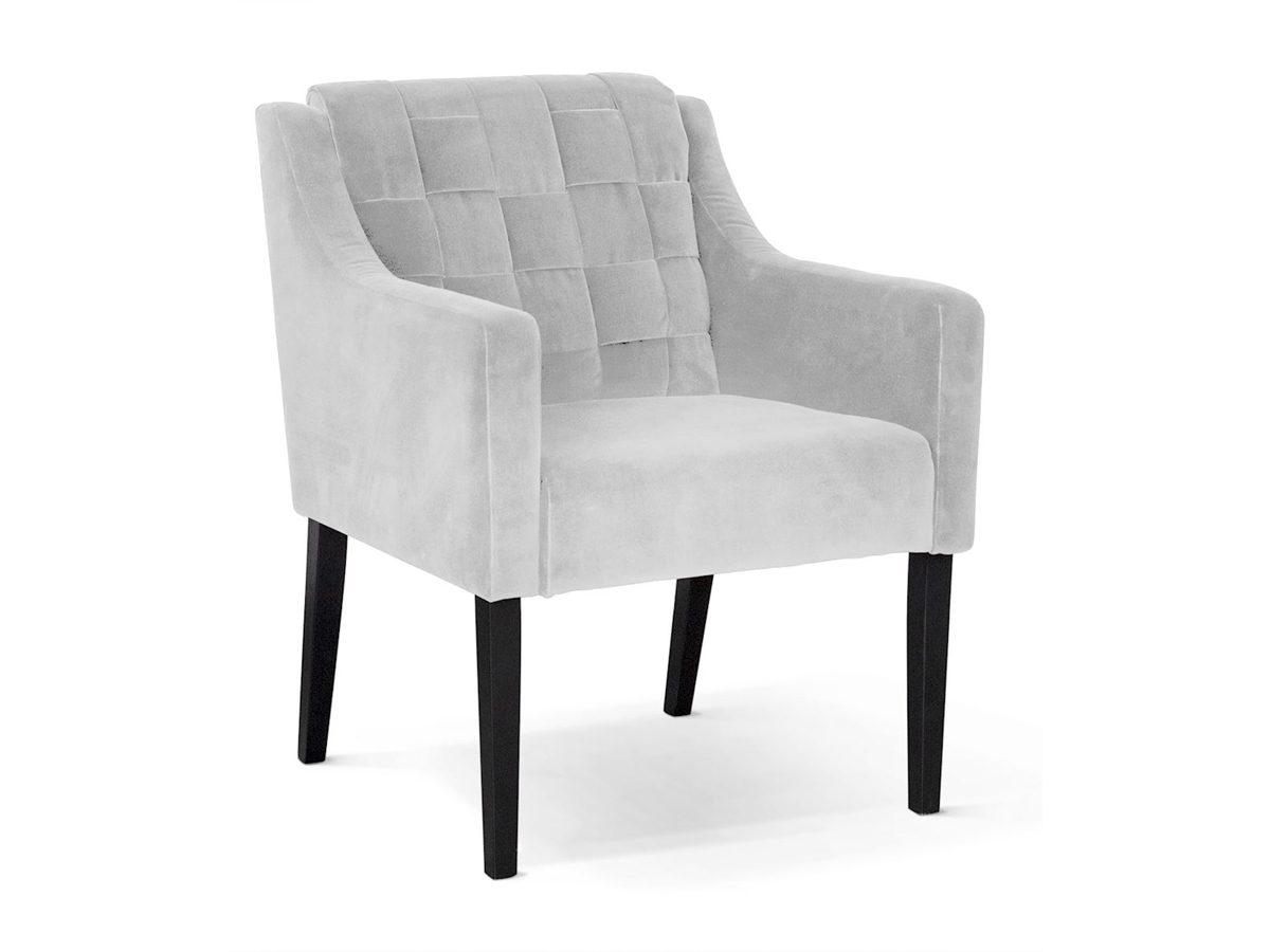 Fotel szary tapicerowany aksamitem Romeo.Fotel pikowany Romeo pasuje do salonu lub sypialni w stylu nowoczesnym. Meble tapicerowane producent polski.