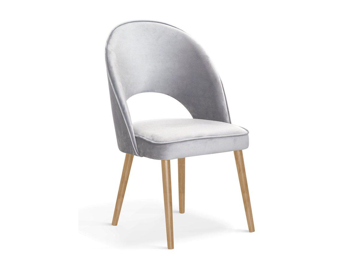 Krzesło tapicerowane aksamitem Jasmine II. Przedstawione modele to krzesło tapicerowane szare, różowe i błękitne. Krzesło welurowe do nowoczesnej jadalni.