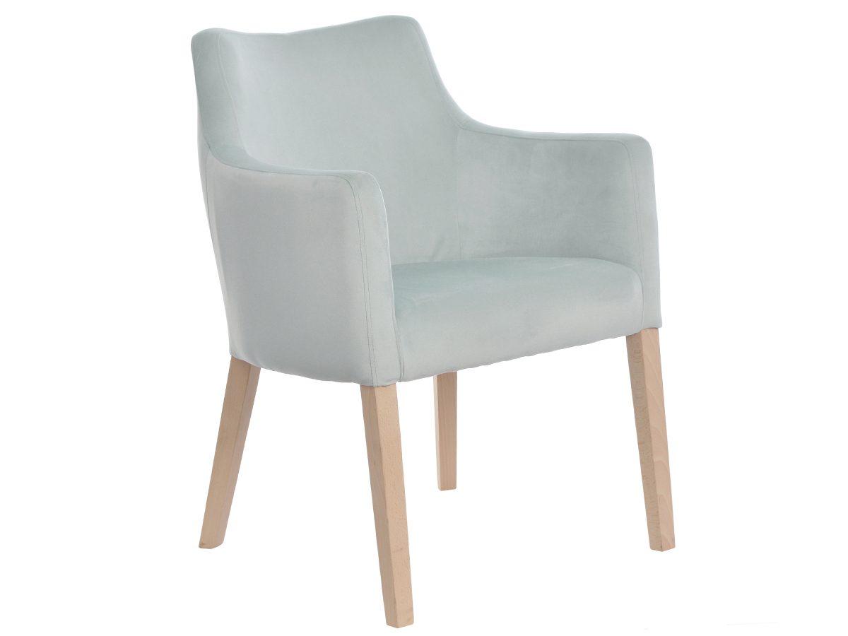 Fotel tapicerowany aksamitem z podłokietnikami Marcos. Stelaż wykonano z litegodrewna bukowego– do wyboru wybarwienie. Fotele tapicerowane Białystok.