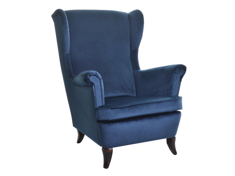 Fotel Uszak. Możliwość wyboru tkaniny i koloru nóżek. Fotel drewniany z welurową tkaniną. Fotele tapicerowane Białystok.