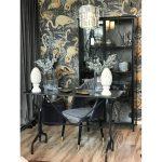 Konsola postarzana stolik wąski Loft. Konsola metalowa w kolorze postarzanej czerni. Pasuje do salonu i przedpokoju w stylu industrialnym.