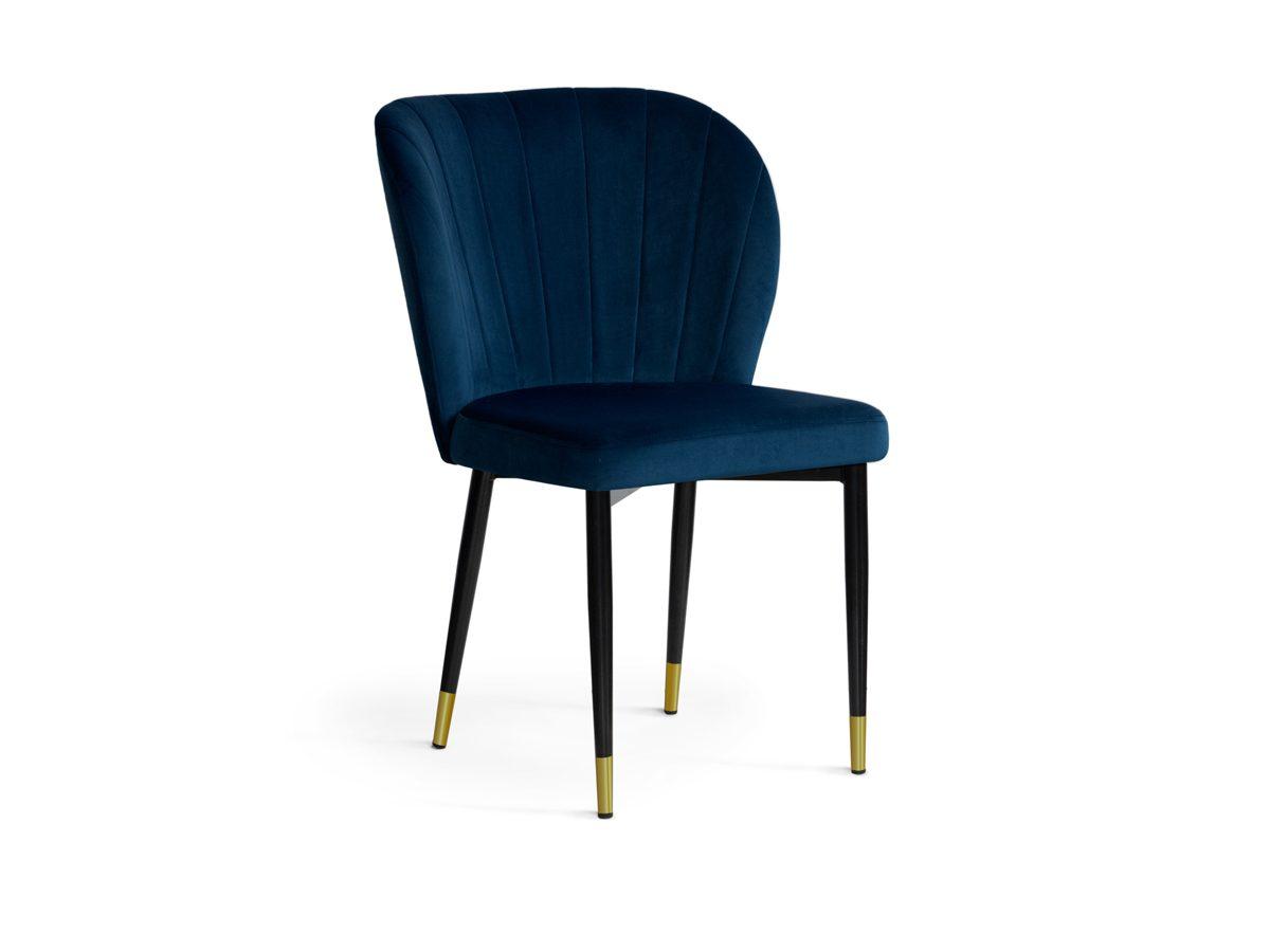 Krzesło nowoczesne do salonu Marilyn II. Metalowy stelaż czarny ze złotymi końcami. Krzesło welurowe pasuje do salonu i jadalni w stylu nowoczesnym.
