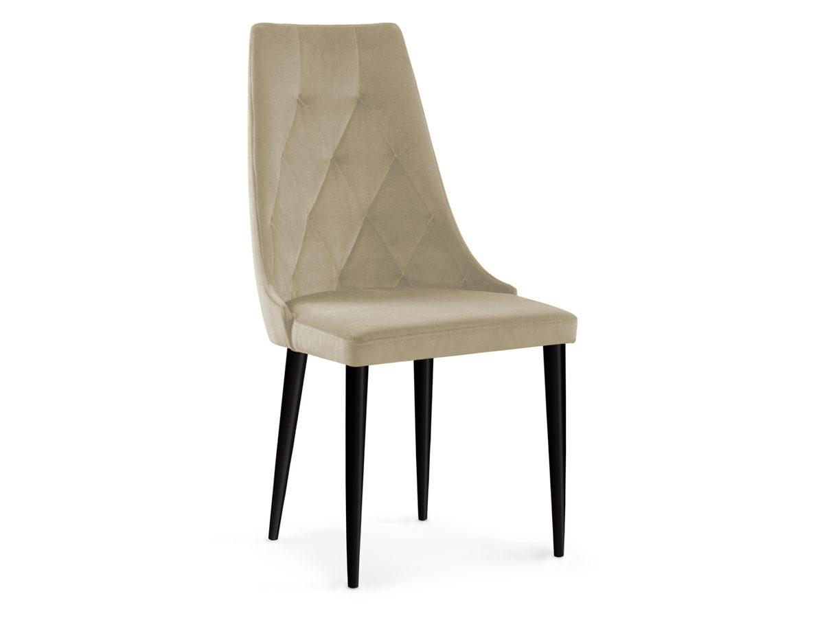Krzesło tapicerowane Valentino. Oparcie to pikowanie w karo. Metalowy stelaż nóg w kolorze czarnym. Krzesło pikowane pasuje do nowoczesnej jadalni.
