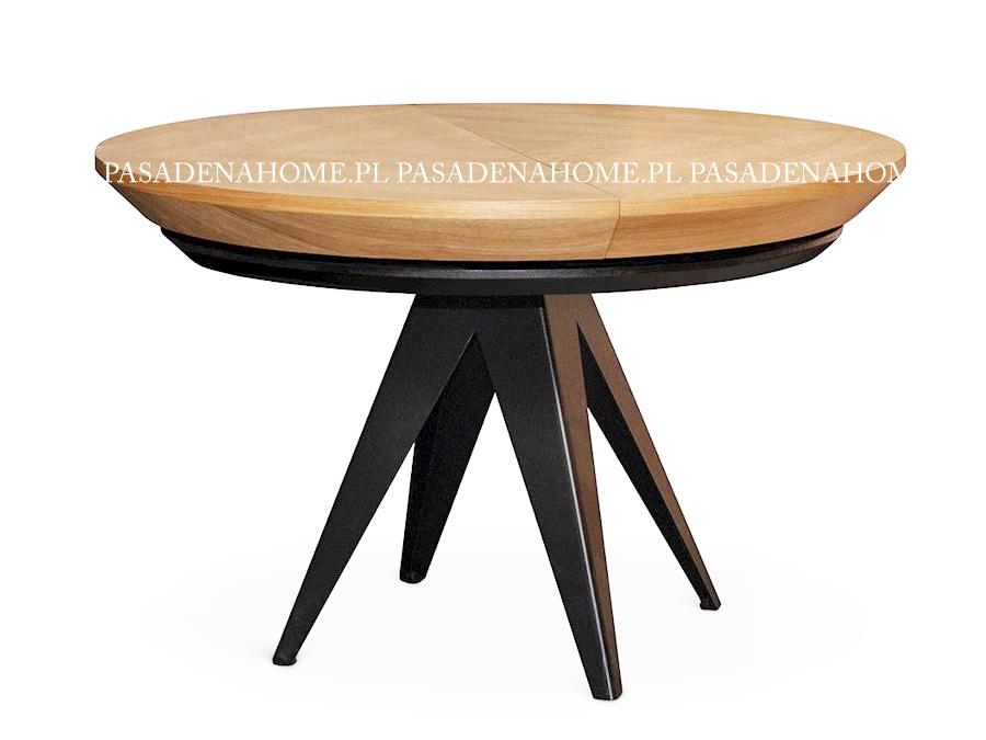 Okrągły stół rozkładany Vincente 120-220 cm. Stół drewniany pasuje do jadalni w stylu nowoczesnym i loft. Stoły drewniane do jadalni Białystok.