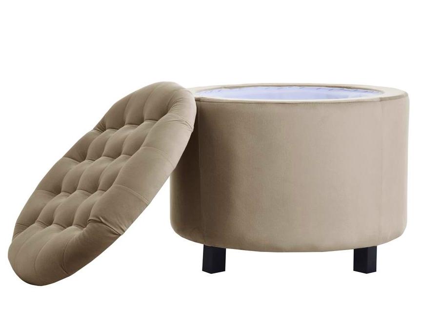 Pufa okrągła ze schowkiem Mila tapicerowana tkaniną łatwoczyszczącą. Pufa z pojemnikiem do salonu, sypialni, przedpokoju lub pokoju dziecięcego.