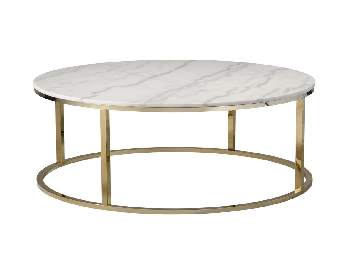 Stolik marmurowy Marble Ø110cm biały. Stolik kawowy pasuje do wnętrz w stylu nowojorskim i glamour. Polecamy także stoliki kawowe drewniane.