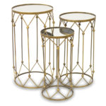 Stolik lustrzany złoty do salonu i sypialni w stylu nowoczesnym. Okrągły stolik złoty z lustrzanym blatem i geometryczną podstawą.
