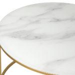 Stolik okrągły Glass Ø85 biały ze złotą, matową ramą. Stolik kawowy pasuje do salonu w stylu nowojorskim i glamour.