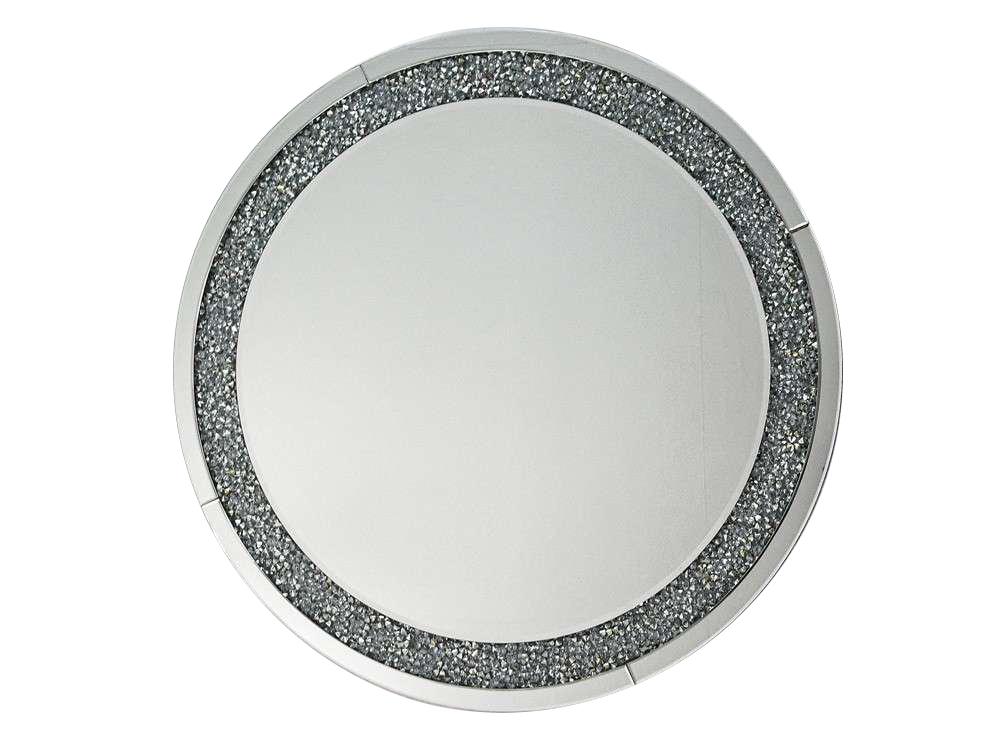 Lustro w lustrzanej ramie z kryształkami o wymiarach 90x90 cm Crystal. Lustro pasuje do salonu w stylu nowoczesnym i glamour.