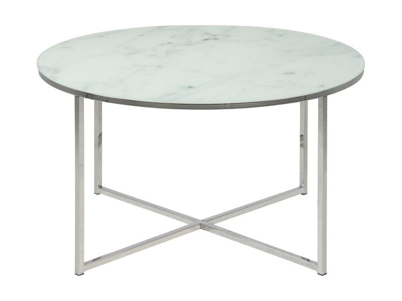 Okrągły stolik kawowy Amelia wykonany ze szkła oraz metalu.Elegancki stolik do salonu w stylu nowojorskim oraz nowoczesnym.