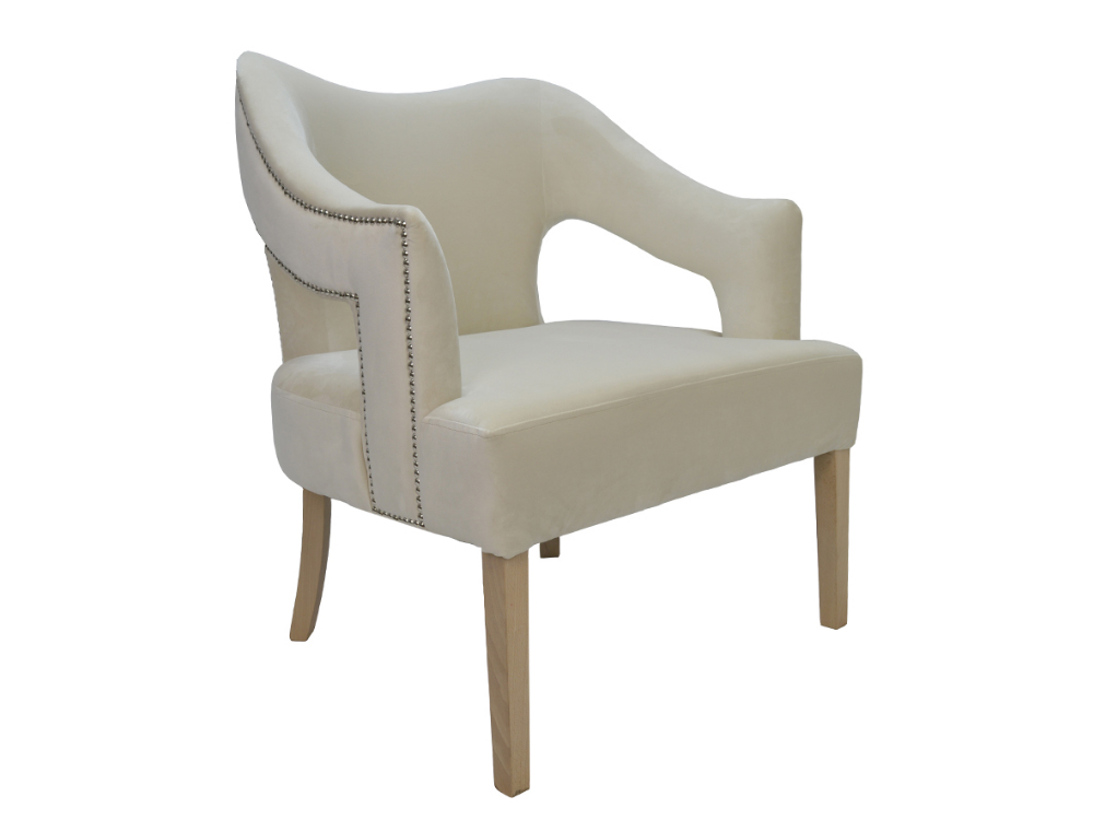 Fotel tapicerowany z podłokietnikami Vinci Velvet. Fotel do salonu i sypialni w stylu nowojorskim i glamour. Do wyboru materiał na fotel Białystok.