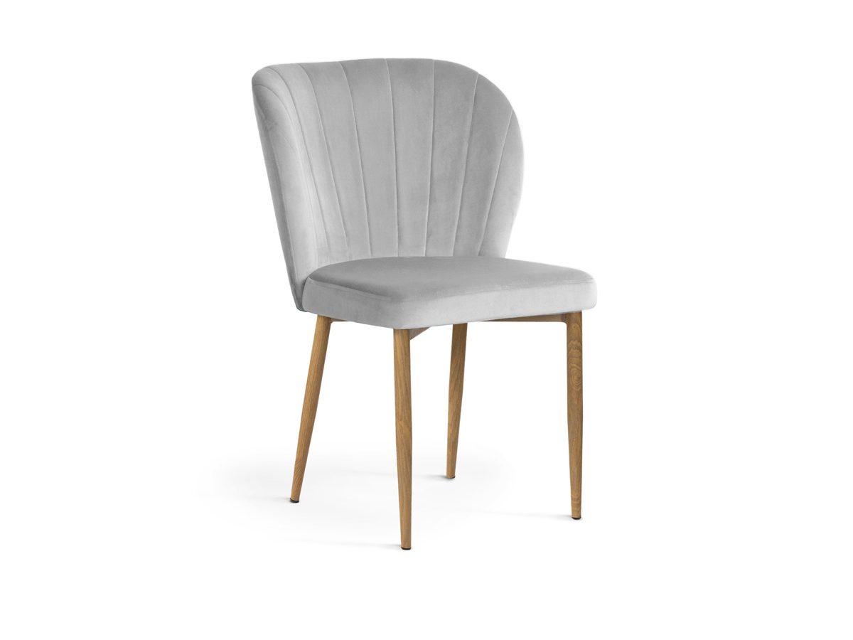 Krzesło nowoczesne do salonu Marilyn II. Przedstawione modele to krzesło szare, ciemnoszare oraz różowe. Krzesło welurowe do nowoczesnej jadalni.