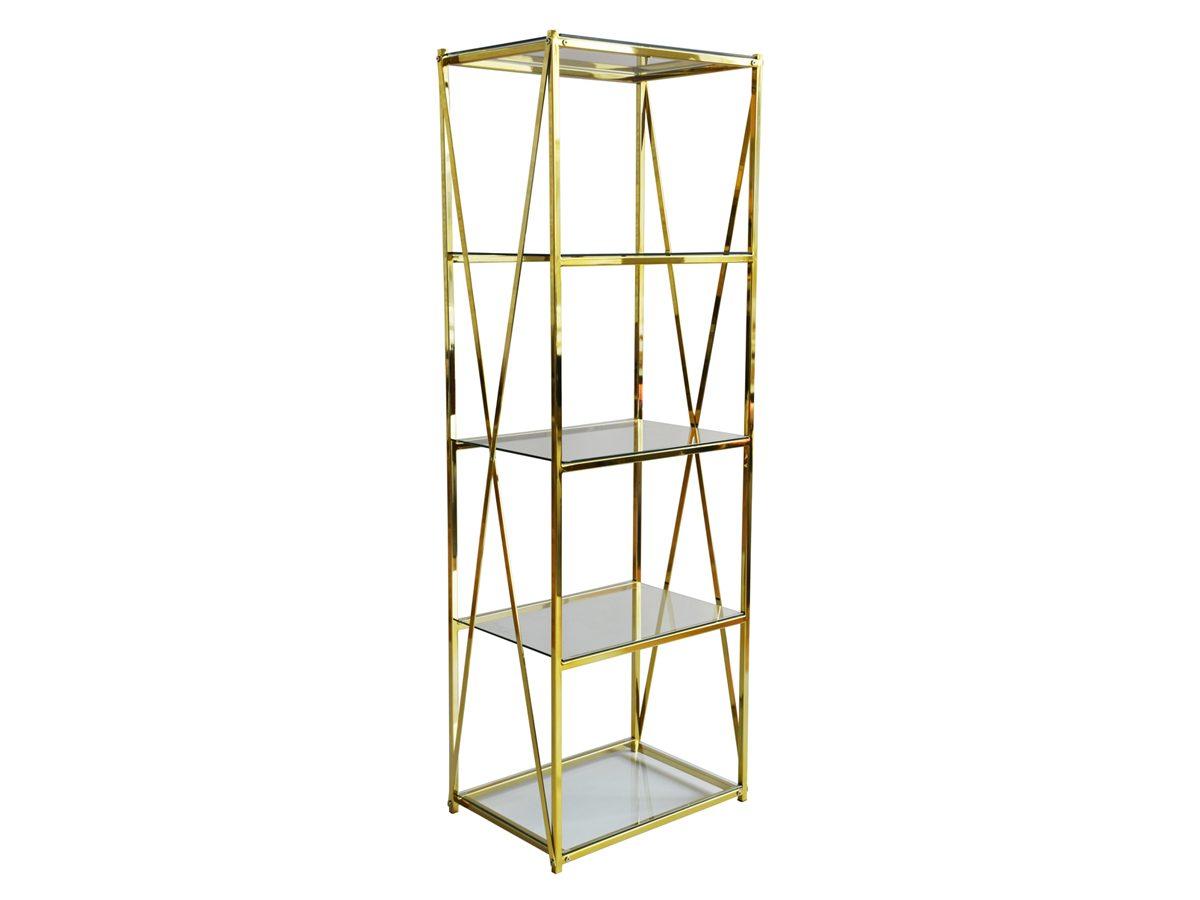 Regał metalowy Cruz w stylu glamour. Złoty regał ze szklanymi półkami na dekoracje i niewielkie przedmioty. Możliwość wyboru koloru.