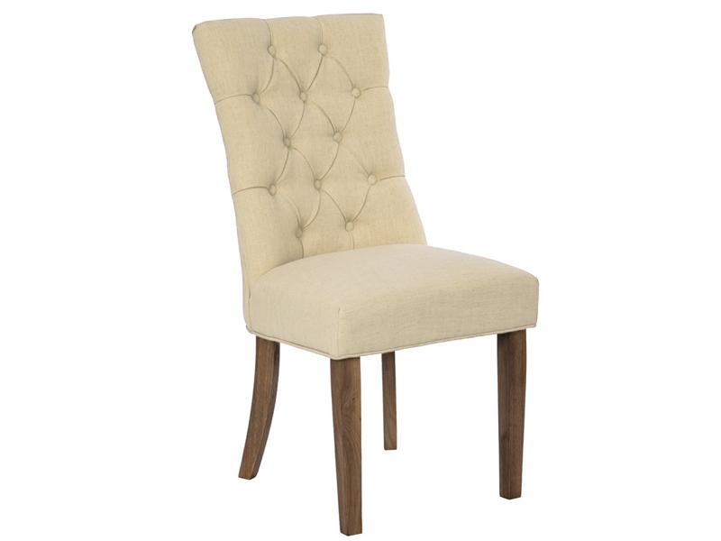 Drewniane krzesło pikowane w stylu glamour.