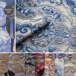 Tkanina dekoracyjna żakard Mumbaj na zasłony i panele tapicerowane. Posiada piękny, tkany orientalny wzór, sprawdzi się również jako materiał tapicerski.