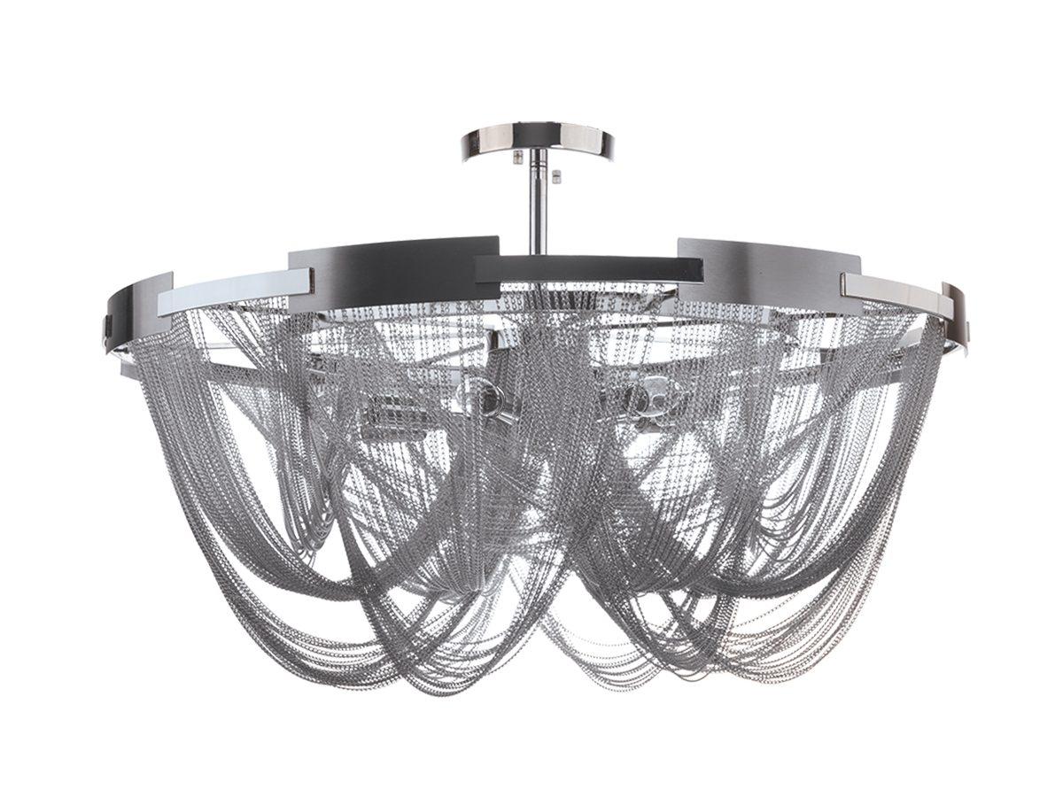 Lampa wisząca z łańcuszkami w stylu glamour Persei 2 idealnie sprawdzi się jako główne oświetlenie sufitowe do salonu lub jadalni.
