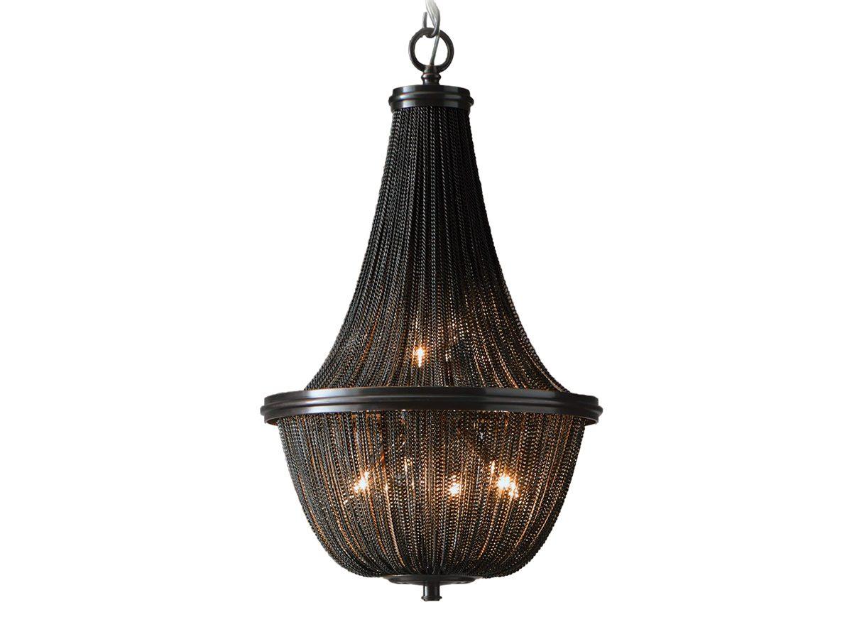 Lampa wisząca czarna z łańcuszkami w stylu glamour Persei idealnie sprawdzi się jako główne oświetlenie sufitowe do salonu.
