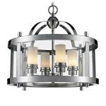 Lampa wisząca w stylu nowojorskim Hampton 5 to elegancki dodatek do nowoczesnego salonu. Rama z chromowanej stali i przezroczystego szkła.