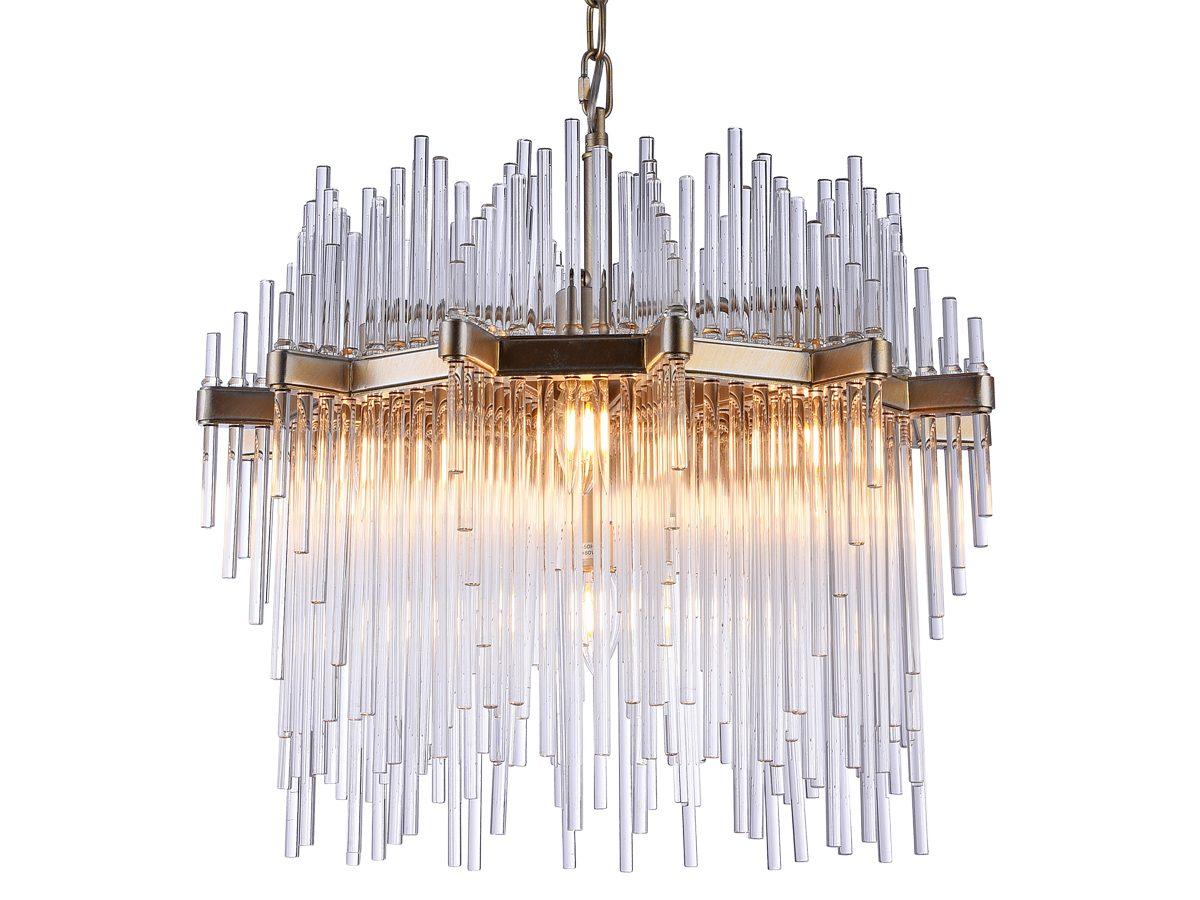 Lampa wisząca w stylu glamour Madison 1. Żyrandol do pokoju lub restauracji w stylu glamour. Lampa sufitowa wisząca nad stół z rurkami.
