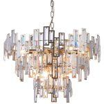 Lampa wisząca w stylu glamour Lincoln z możliwością regulacji łańcucha. Żyrandol z kryształkami do salonu, jadalni, restauracji.
