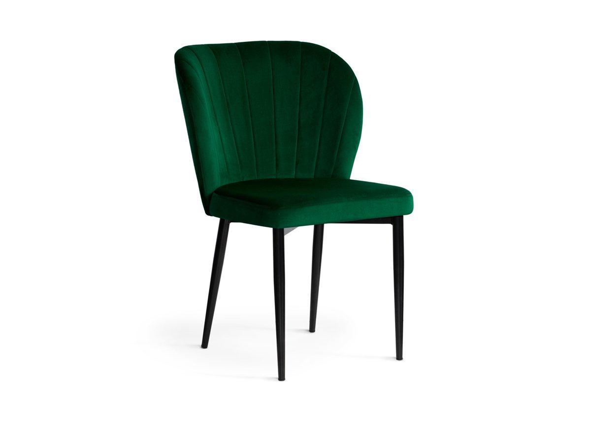 Krzesło nowoczesne do salonu Marilyn II butelkowa zieleń. Metalowy stelaż czarny. Krzesło welurowe pasuje do salonu i jadalni w stylu nowoczesnym.