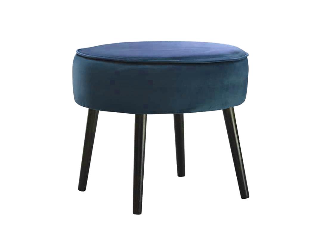 Pufa na drewnianych nogach Brenda. Pufa okrągła sprawdzi się także jako podnóżek do fotela. Pufy do siedzenia na zamówienie.