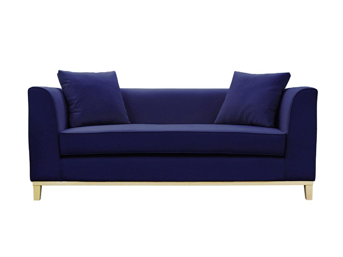 Sofa nowoczesna Marita o minimalistycznym designie. Sofa welurowa na drewnianych nogach. Możliwość wyboru tkaniny i dodatków.