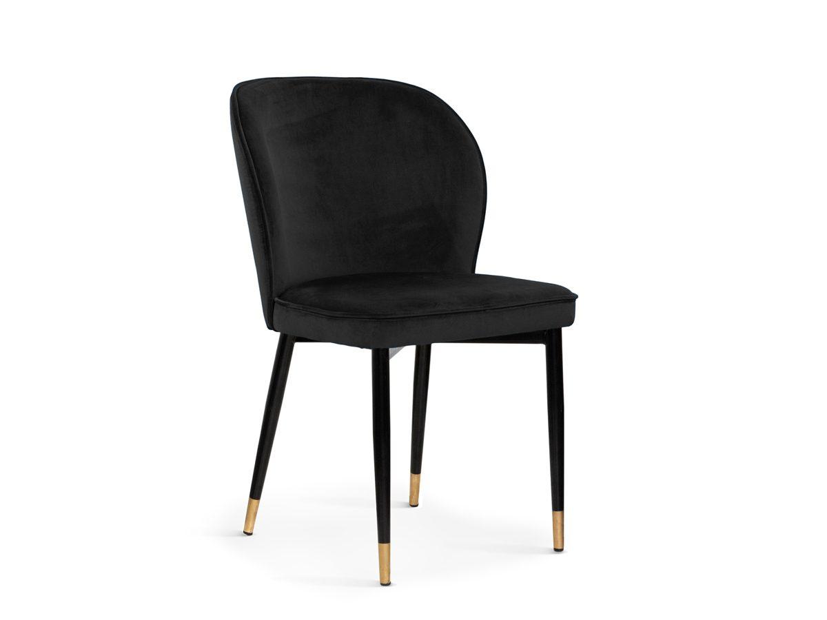 Nowoczesne krzesło do jadalni Marilyn. Krzesło welurowe czarne do nowoczesnej jadalni. Krzesła tapicerowane na zamówienie Białystok.