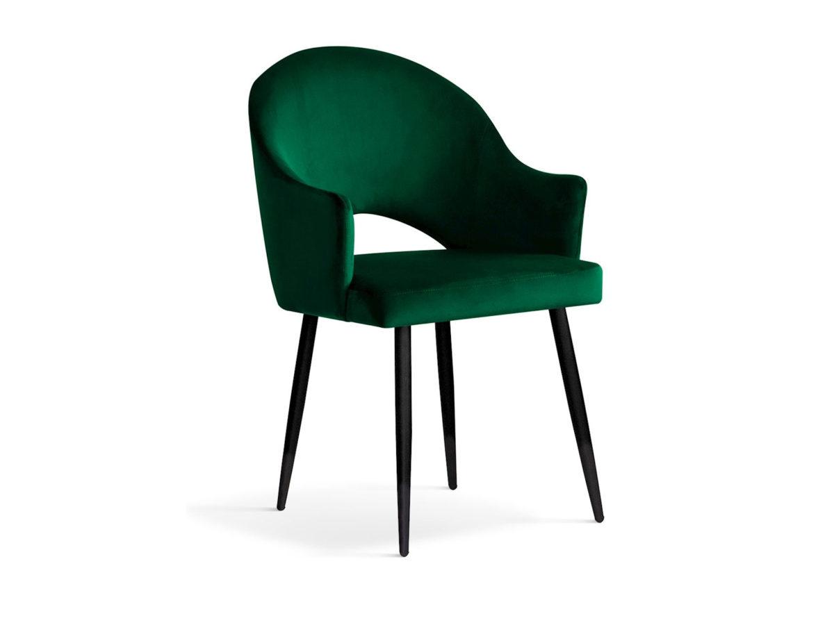 Nowoczesne krzesło tapicerowane Judith zielone. Stelaż metalowy w kolorze czarnym. Krzesło pasuje do salonu oraz jadalni w stylu nowoczesnym.