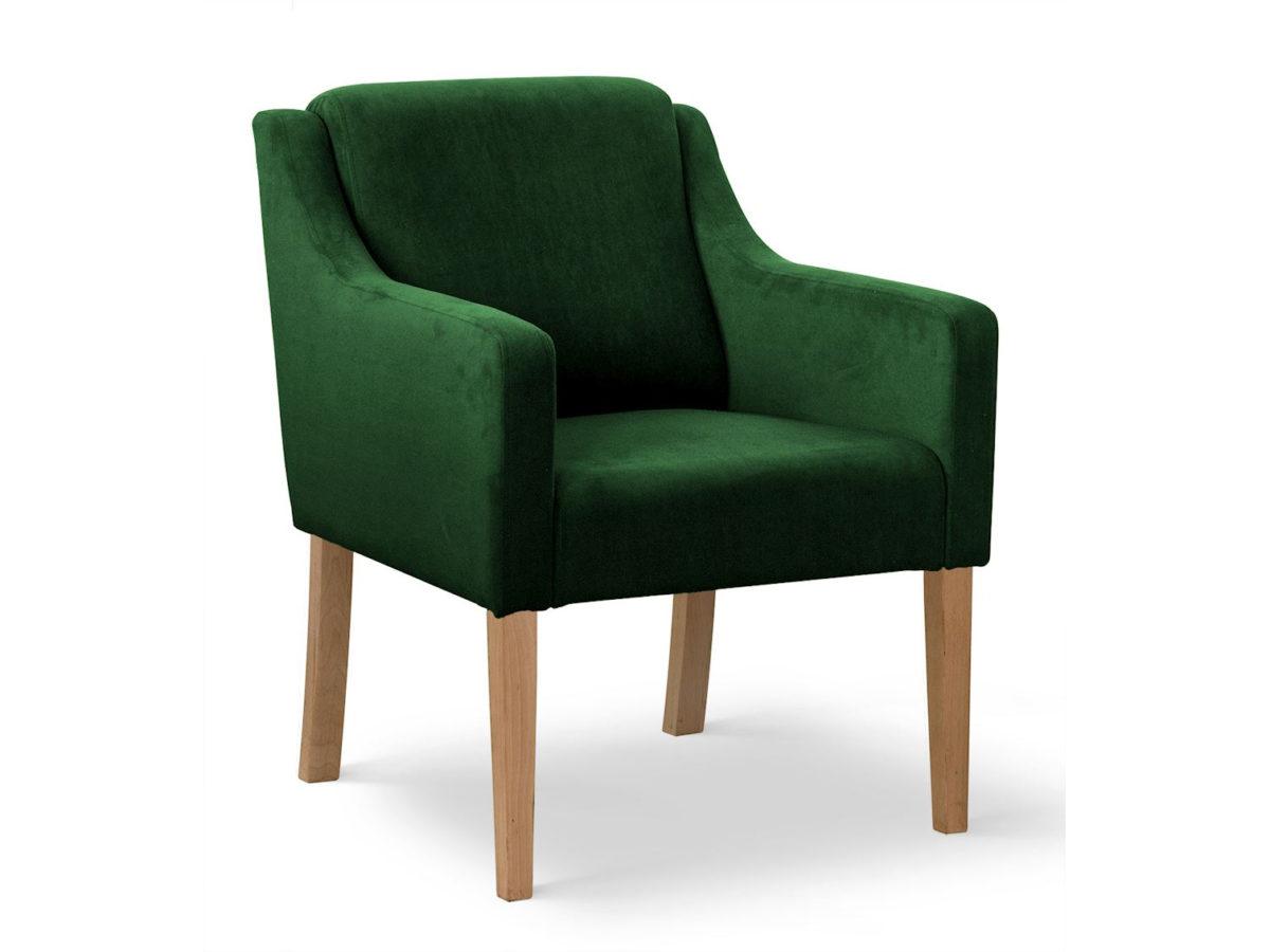 Nowoczesny fotel butelkowa zieleń z podłokietnikami Olimp tapicerowany aksamitem. Można tez wybrać inny materiał na obicie. Meble tapicerowane producent polski.