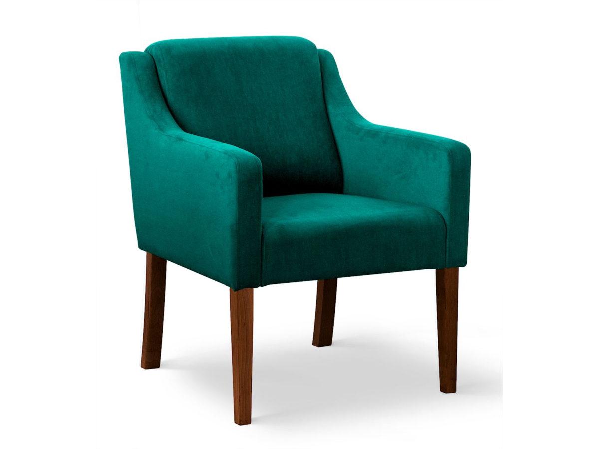 Fotel Olimp z podłokietnikami tapicerowany aksamitną tkaniną, dostępną w wielu kolorach.