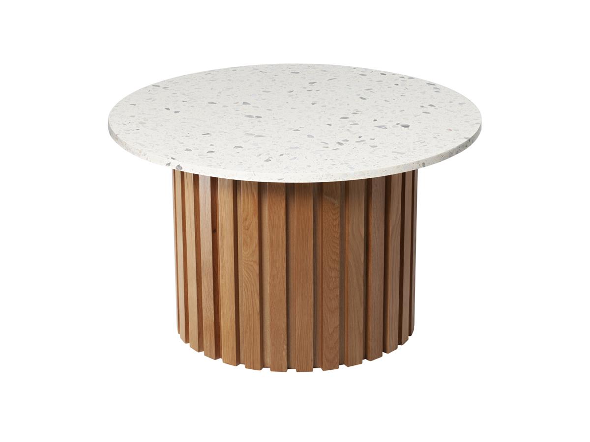 Stolik okrągły Terazzo Oak. Stolik pasuje do wnętrz w stylu nowoczesnym i modern classic. Polecamy także stolik z marmurowym blatem.