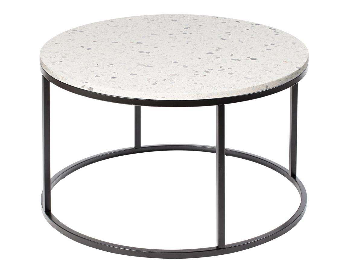 Stolik okrągły Terazzo. Stolik pasuje do wnętrz w stylu nowoczesnym i modern classic. Polecamy także stolik z marmurowym blatem.