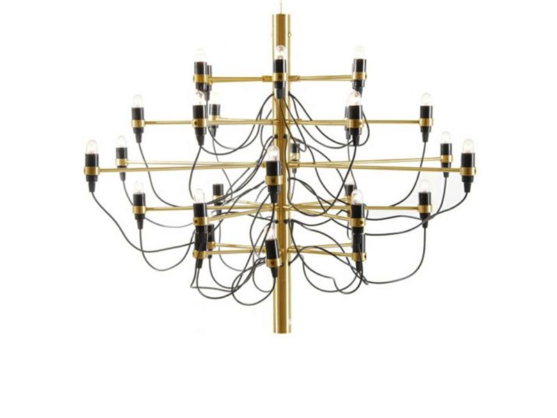 Lampa sufitowa Vicky Gold do salonu i restauracji w stylu glamour. Żyrandol wykonany ze stali węglowej oraz niklu, dostępny w wielu wariantach.