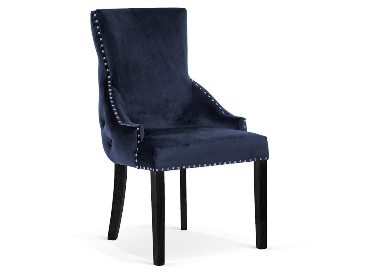 Krzesło w stylu glamour Palace Velvet. Welurowa tkanina, oparcie pikowane a'la chesterfield, ozdobne srebrne pinezki. Możliwość personalizacji.