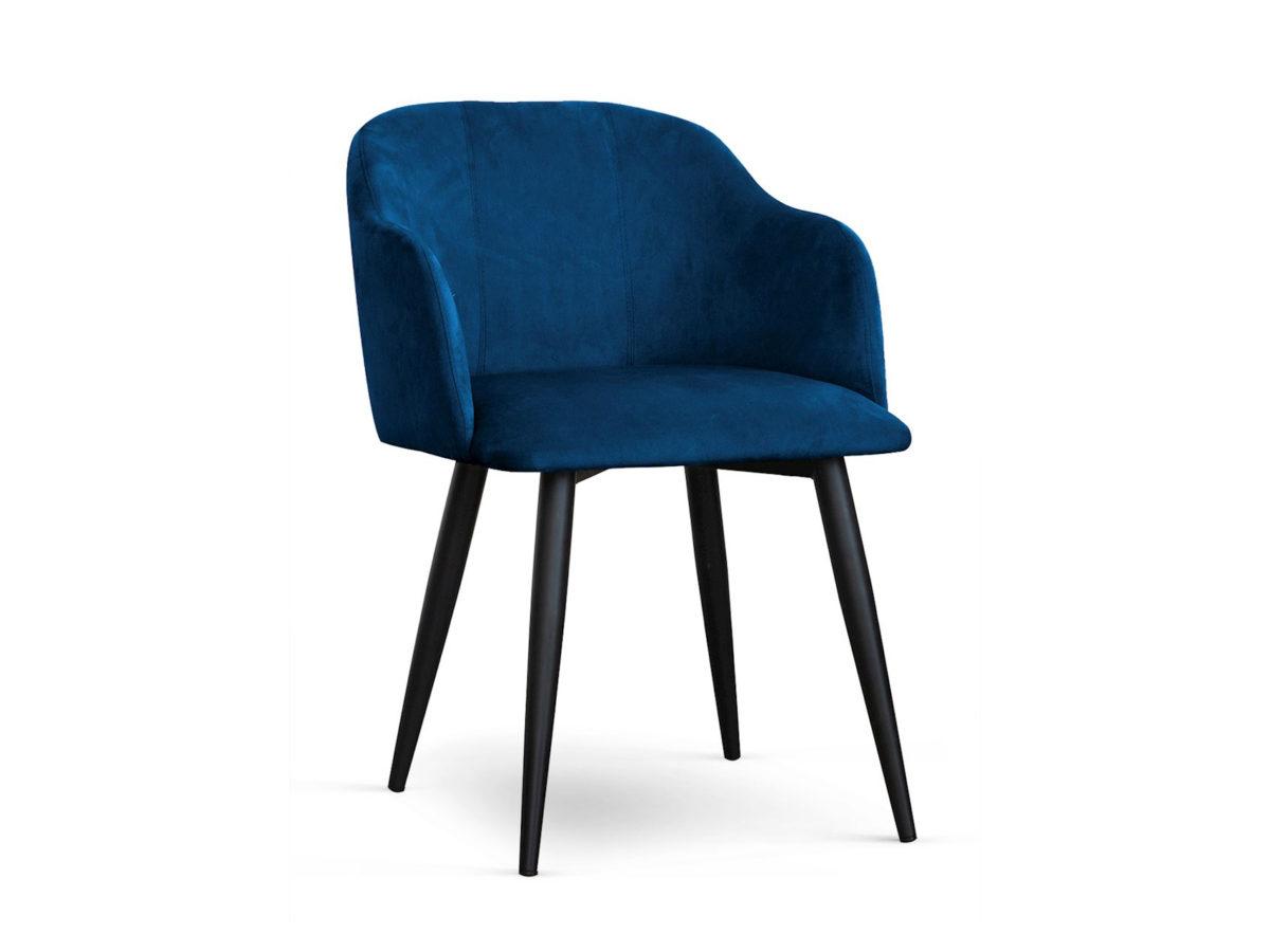 Nowoczesne krzesło tapicerowane Muse na czarnych, metalowych nogach. Krzesło Muse z podłokietnikami pasuje do salonu lub jadalni w stylu nowoczesnym.