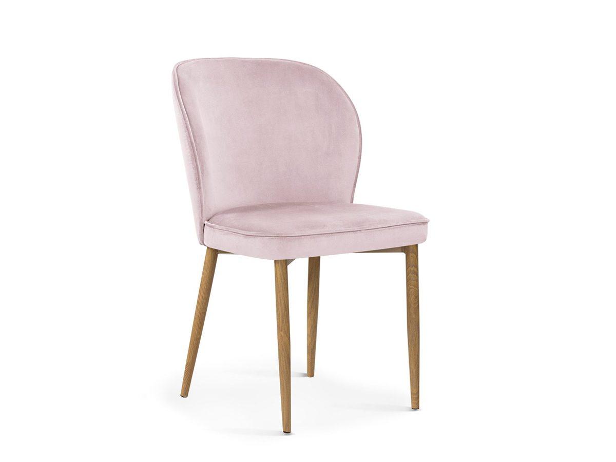 Nowoczesne krzesło do jadalni Marilyn. Przedstawione modele to krzesło różowe, jasnoszare oraz ciemnoszare. Krzesło welurowe do nowoczesnej jadalni.