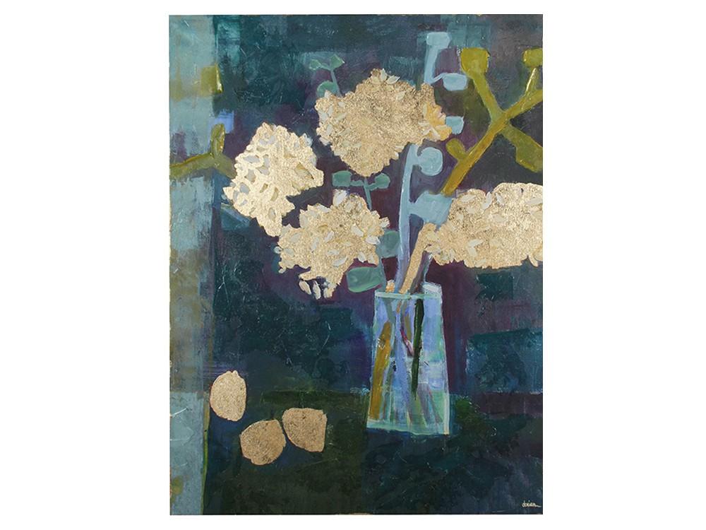 Obraz do salonu o wymiarach 75x100x5 cm Kwiaty II.Obraz na płótnie wykończony strukturalną, akrylową farbą oraz złotymi płatkami.
