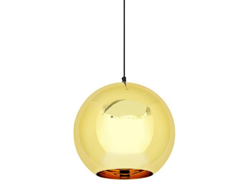 Lampa sufitowa złota Ball do salonu i jadalni w stylu nowoczesnym. Lampa kula wykonana z metalizowanego szkła dostępna w wielu rozmiarach.