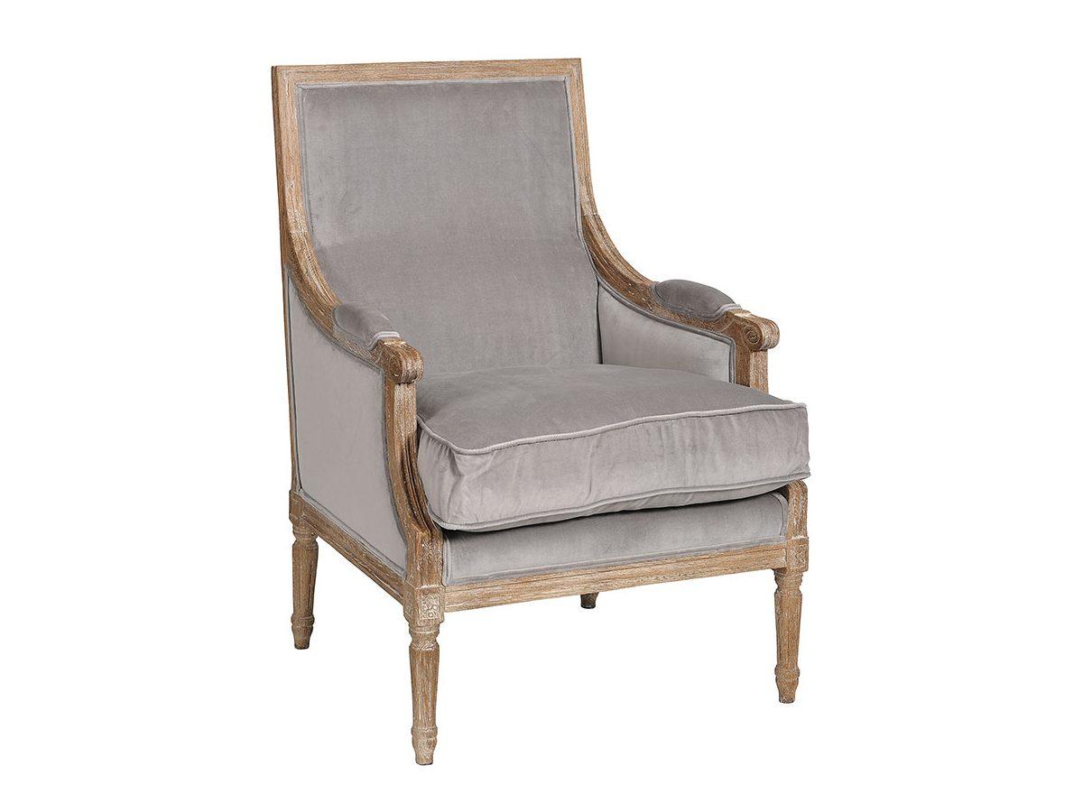 Classic fotel z podłokietnikami prosty szary 1 tapicerowany welurem. Fotel drewniany - wykonany z dębu. Fotele tapicerowane Białystok.