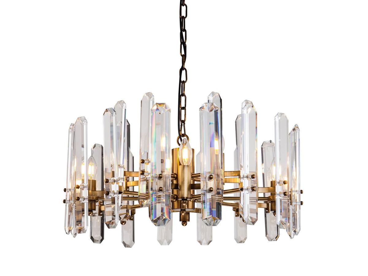 Żyrandol kryształowy Cara to idealne oświetlenie sufitowe do salonu, holu, restauracji, hotelu. Złota lampa sufitowa z kryształkami na zamówienie.