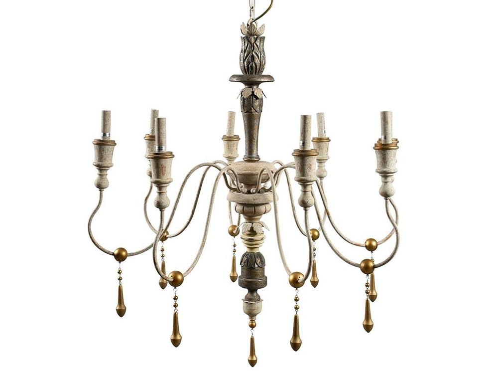 Żyrandol z koralikami Vintage 8 pasuje do salonu lub przedpokoju w stylu rustykalnym oraz vintage. Lampa z koralików na zamówienie.