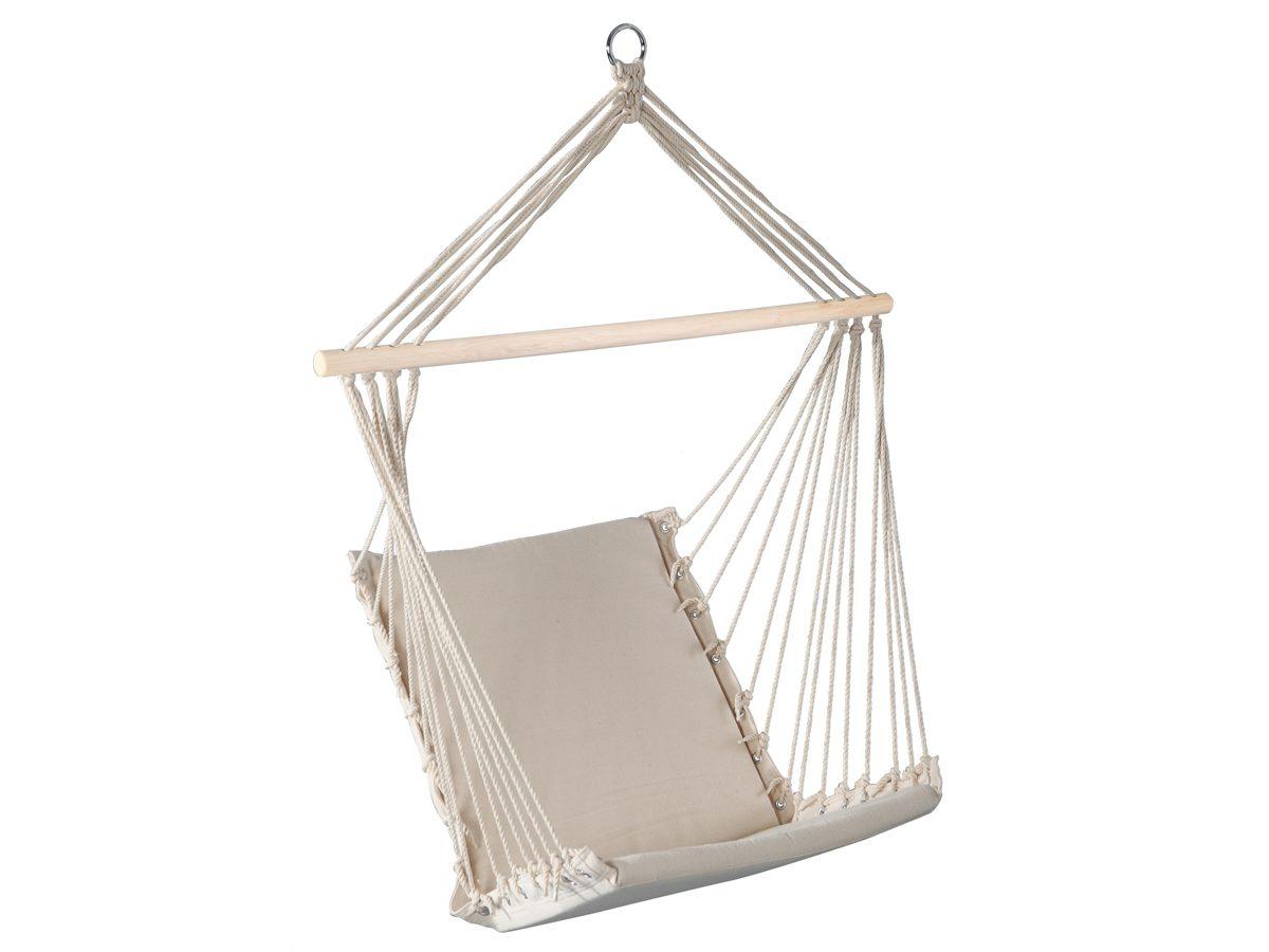 Hamak ogrodowy Avila został wykonany z wytrzymałej tkaniny w kolorze ecru.Hamak do ogrodu i na taras z pewnością zapewni długie chwile relaksu.