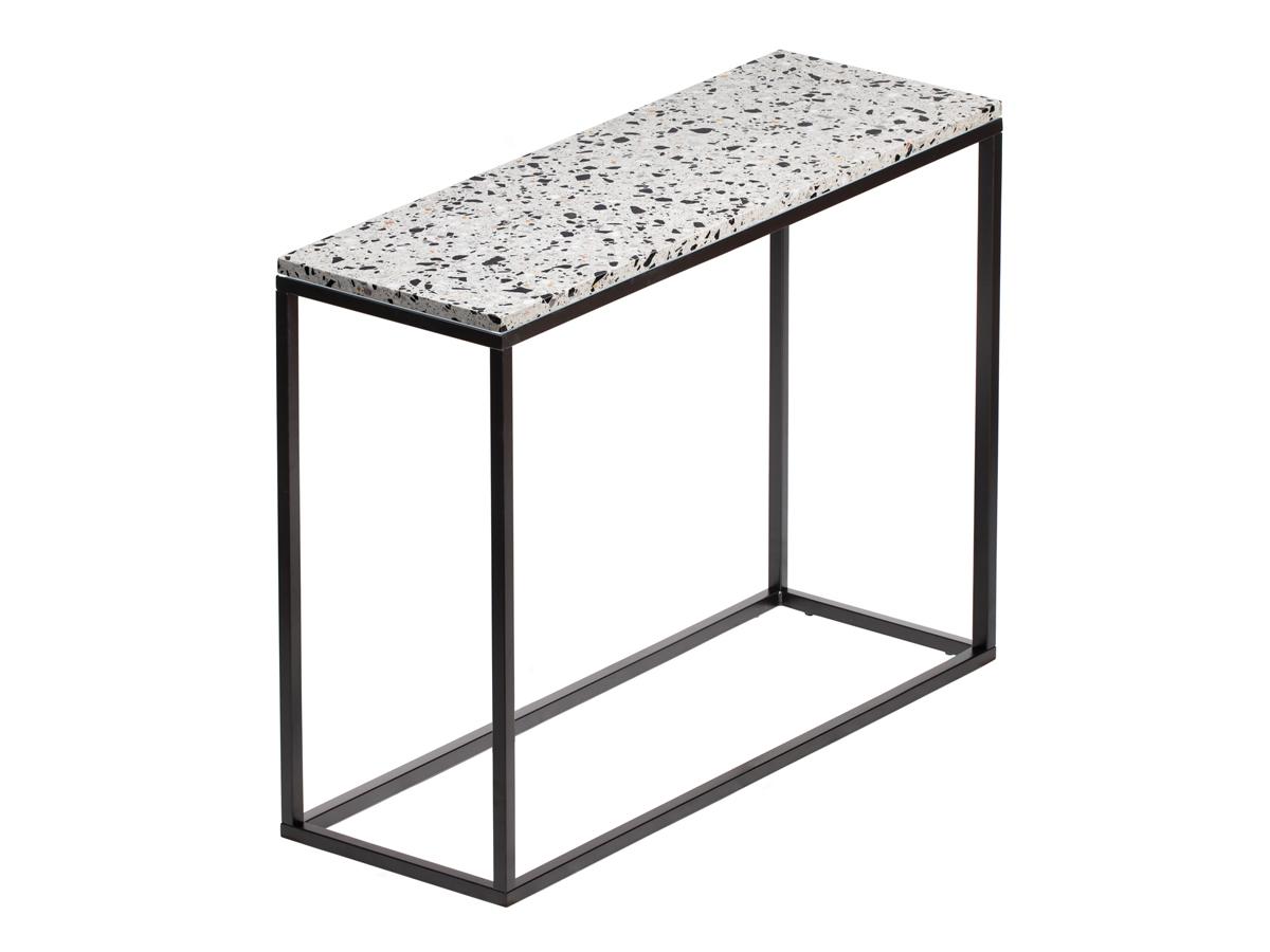 Konsola do przedpokoju Terazzo Black wykonana z kamienia i metalu. Konsola przyścienna do przedpokoju i salonu w stylu nowoczesnym.