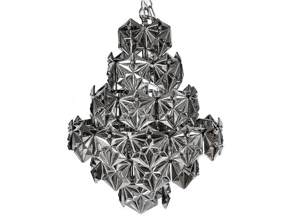 Żyrandol z kryształkami w stylu glamour 1C. Lampa sufitowa do salonu oraz przedpokoju z możliwością relulacji długości łańcucha.