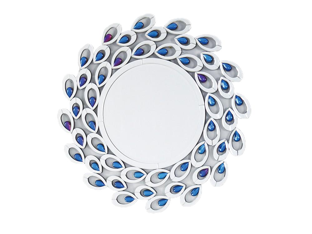 Lustro w lustrzanej ramie z kolorowymi kryształkami o wymiarach 87x87 cm Bastien.Lustro pasuje do salonu w stylu nowojorskim i nowoczesnym.