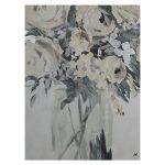 Obraz do salonu o wymiarach 60x80x5 cm Szare Kwiaty. Obraz na płótnie wykończony strukturalną, akrylową farbą oraz srebrnymi płatkami.