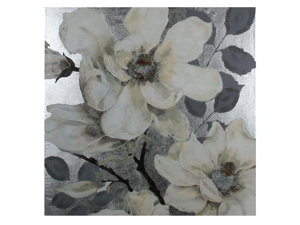 Obraz do salonu o wymiarach 120x120x5 cm Kwiaty. Obraz na płótnie wykończony strukturalną, akrylową farbą oraz srebrnymi płatkami.