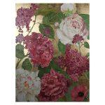Obraz do salonu o wymiarach 160x225x5 cm Różowe Kwiaty. Obraz na płótnie wykończony strukturalną, akrylową farbą oraz srebrnymi płatkami.
